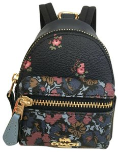 Coach COACH Key Chain Floral Mini Backpack Key Fob Ring Charm Midnight Blue