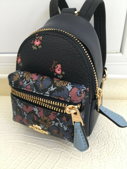 Coach COACH Key Chain Floral Mini Backpack Key Fob Ring Charm Midnight Blue Image 1