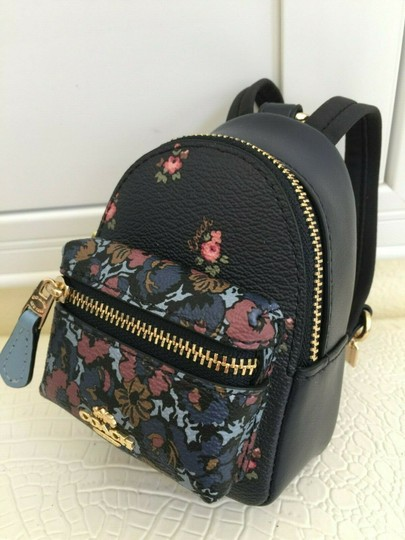 Coach COACH Key Chain Floral Mini Backpack Key Fob Ring Charm Midnight Blue Image 2