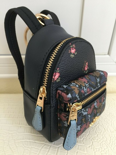 Coach COACH Key Chain Floral Mini Backpack Key Fob Ring Charm Midnight Blue Image 3