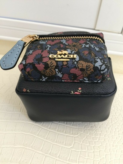 Coach COACH Key Chain Floral Mini Backpack Key Fob Ring Charm Midnight Blue Image 5