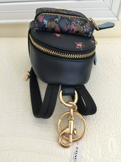 Coach COACH Key Chain Floral Mini Backpack Key Fob Ring Charm Midnight Blue Image 8