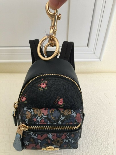 Coach COACH Key Chain Floral Mini Backpack Key Fob Ring Charm Midnight Blue Image 9