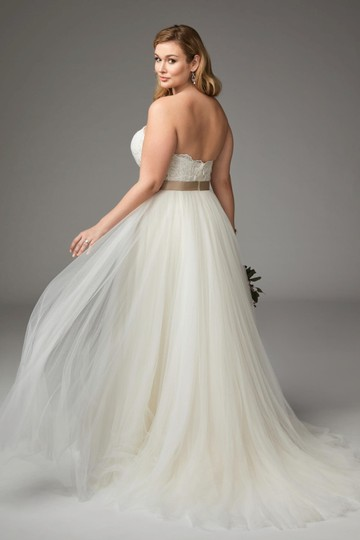 Wtoo Almond Soft Tulle and Lace Appliqué Agatha Modern Wedding Dress Size 18 (XL, Plus 0x) Image 1