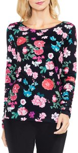 Vince Camuto Longsleeve Floral Ruched Boat Neck Pullover Top Black
