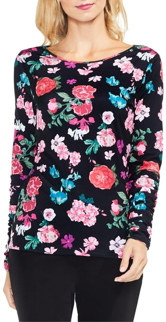 Preload https://img-static.tradesy.com/item/26031957/vince-camuto-black-floral-heirlooms-ruched-blouse-size-6-s-0-1-650-650.jpg