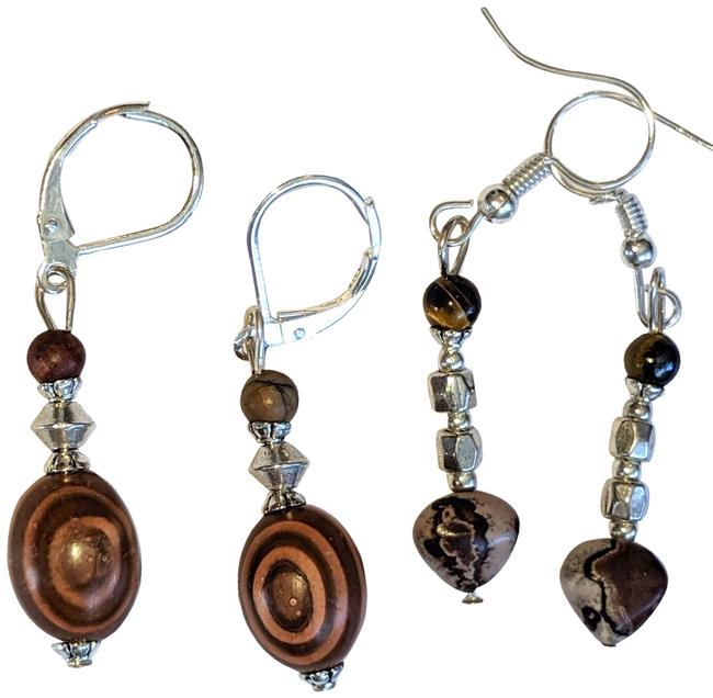 Item - Brown Silver Gemstone Wood Pair Tone New Earrings