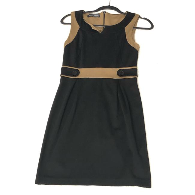 Item - Black and Tan Two Tone Mid-length Work/Office Dress Size 4 (S)