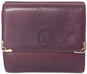 Cartier red wine leather medium snap wallet