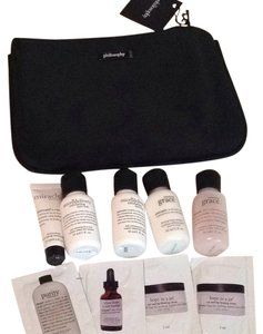 Philosophy Skincare Travel Set Black Cosmetic Bag Pouch 10 pcs