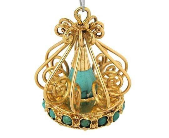 Modern Vintage Turquoise Chandelier 18k Yellow Gold Charm Pendant Image 1