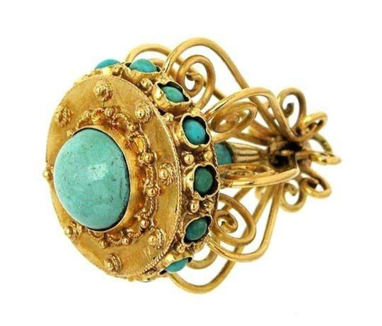 Modern Vintage Turquoise Chandelier 18k Yellow Gold Charm Pendant Image 2
