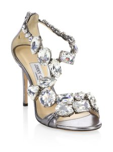 Jimmy Choo Crystal Metallic Dark Gray Sandals