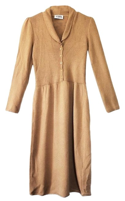 Item - Tan Vintage 1970s Ribbed Collared Knit Long Work/Office Dress Size 4 (S)