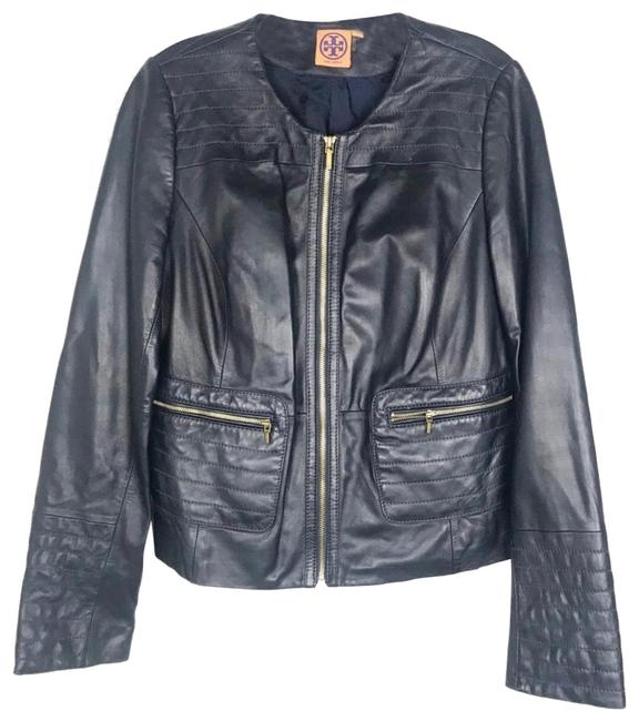 Tory Burch Dark Navy Leather Jacket Image 0
