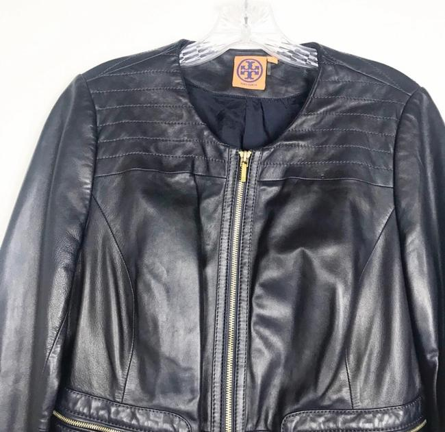 Tory Burch Dark Navy Leather Jacket Image 1