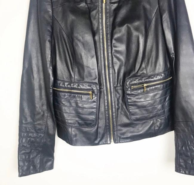 Tory Burch Dark Navy Leather Jacket Image 2
