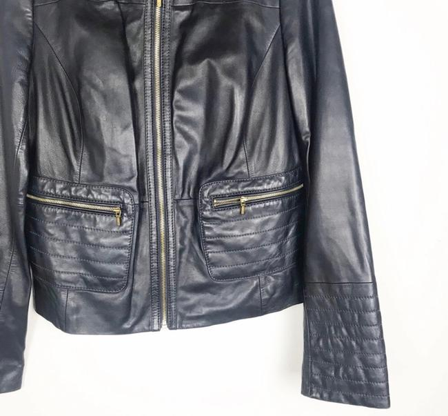 Tory Burch Dark Navy Leather Jacket Image 3