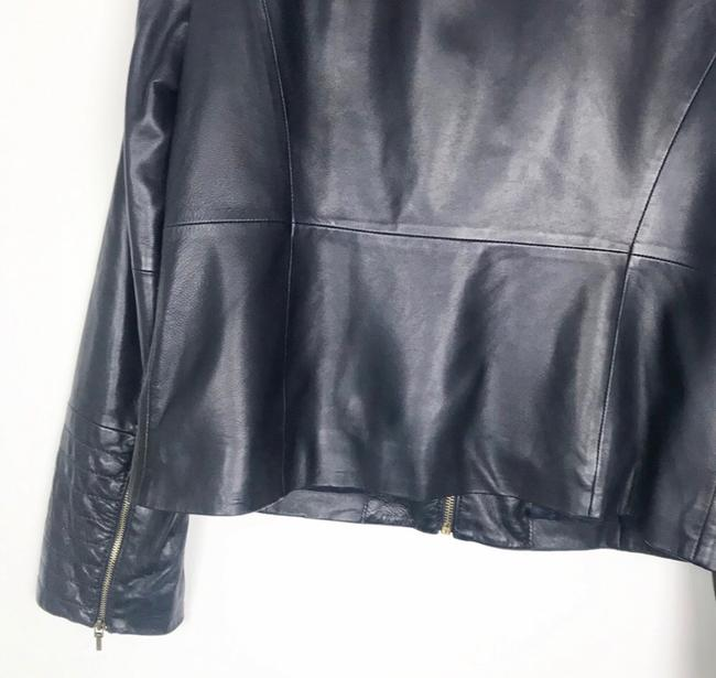 Tory Burch Dark Navy Leather Jacket Image 5