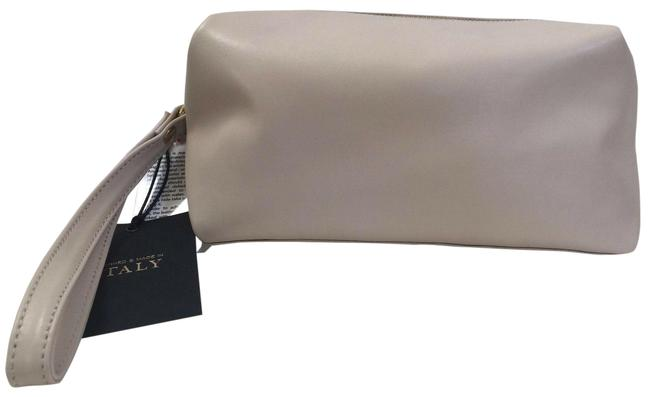 Item - Beige Make Up Italy Leather Toiletery Travel Cosmetic Bag