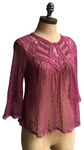 Free People Moderm Romance Mesh Embroidered Top purple