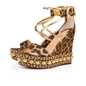 Christian Louboutin Wedge Studded Leopard Black/Gold/Brown Platforms