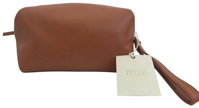Item - Brown Make Up Italy Leather Toiletery Travel Cosmetic Bag