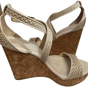 Jimmy Choo Cork Leather White Wedges