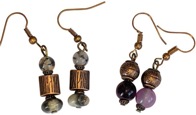 Item - Purple Copper Gray Black Gemstone Tone Agate Jasper 2 Pair Earrings