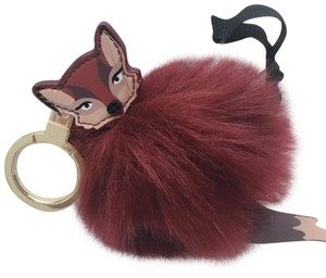 Kate Spade So Foxy Fox Pouf Leather Keyfob Charm Key Chain Keychain