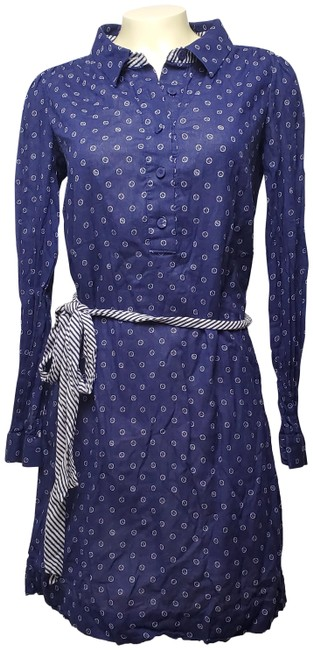 Item - Purple Cotton Half Button Up Belted Long Sleeves Mid-length Short Casual Dress Size 4 (S)