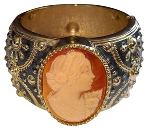 Amedeo Amedeo Cameo Cuff Bracelet Gold Plated Chunky Enamel