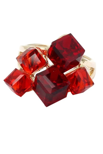 Item - Red Square Crystal Golden Ring