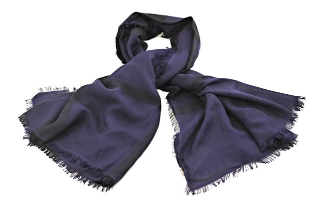 Item - Dark Purple Overdyed Chambray Check Square Scarf/Wrap