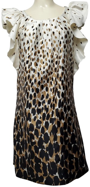 Item - Ombre Leopard Print Ruffled Sleeves Mid-length Short Casual Dress Size Petite 4 (S)