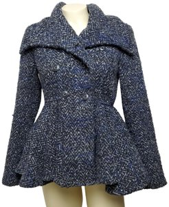 Free People Double Breasted Long Sleeves Pleated Pea Coat