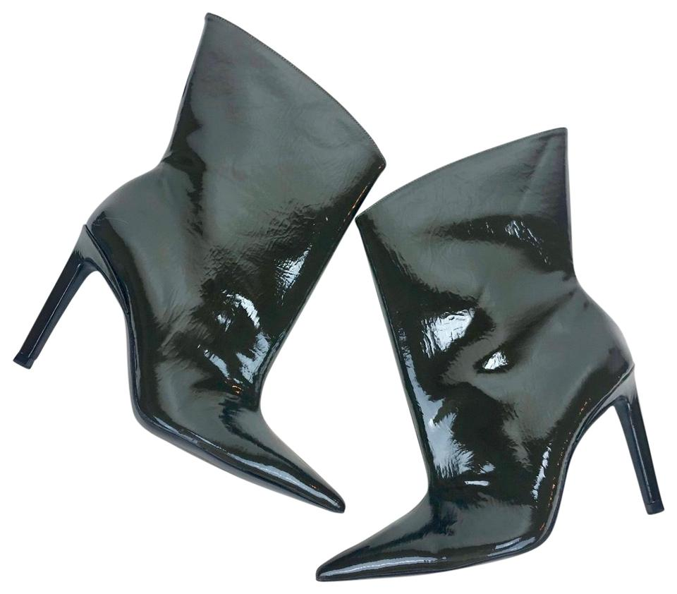 shoes for cheap lowest price premium selection Zara Dark Green Patent Leather Glossy High Heeled Ankle Boots ...