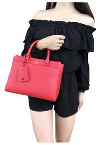 Tory Burch Womens Leather Tote in Orange Red