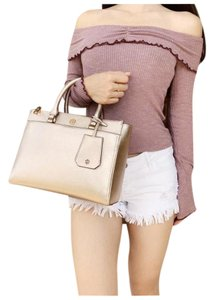 Tory Burch Metallic Leather Tote in Rose Gold