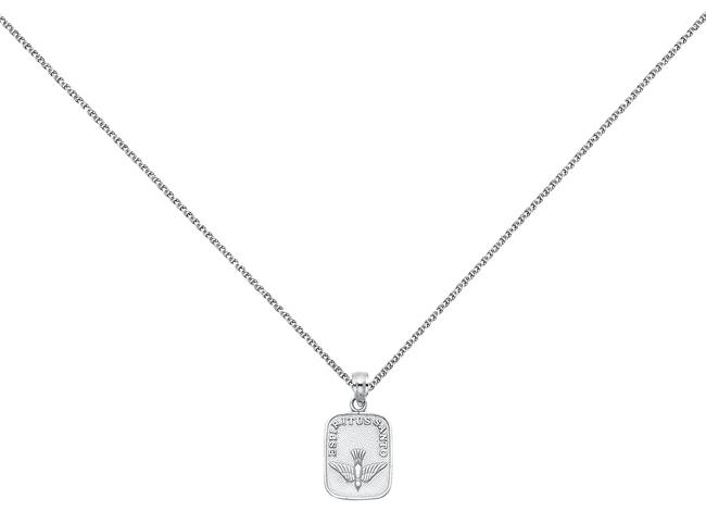 """Item - White 14k Holy Spirit Dove Pendan with 1.3mm Flat Open Wheat Chain-18"""" Necklace"""