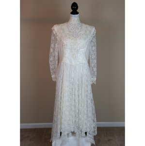 Jessica McClintock Cream Polyester Prairie Ivory Lace Country Gunne Sax Vintage Wedding Dress Size 18 (XL, Plus 0x)