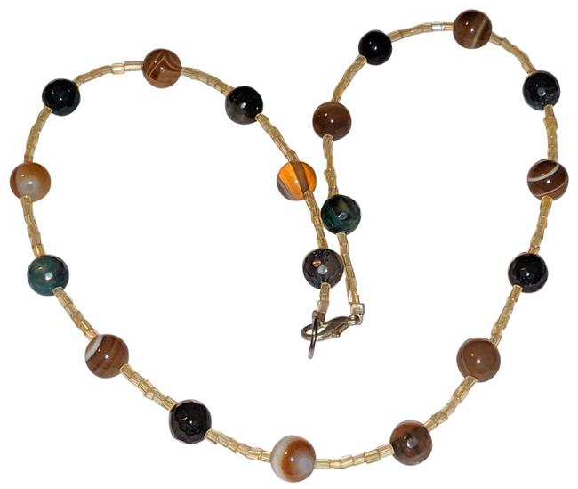 Item - Brown Yellow Green Gemstone Striped Agate 16 In Necklace