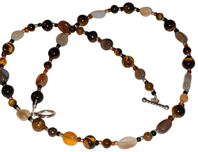 Item - Brown Copper Orange Gemstone Carnelian Tiger's Eye Agate Silver Necklace