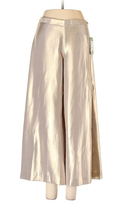 Item - Gold Lame L Margo Palazzo Crop Metallic Wide Leg Pants Size 12 (L, 32, 33)