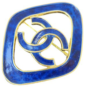 Chanel Auth CHANEL CC Logo Pin Brooch Accessory Gold-tone Blue