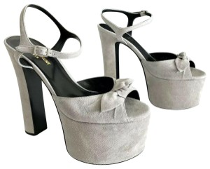 Saint Laurent Ysl Betty Bow Oyster Gray Platforms