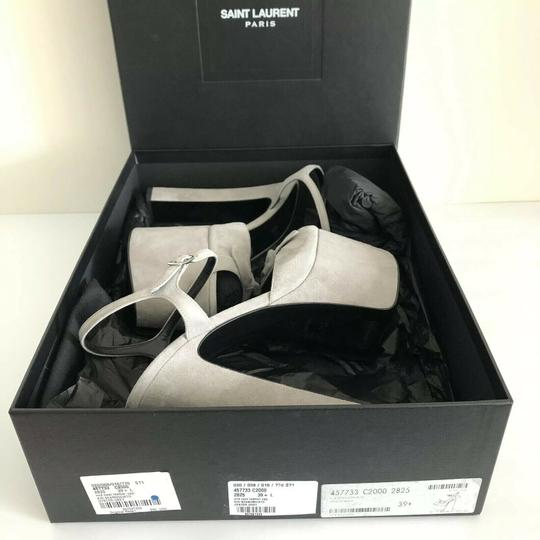 Saint Laurent Ysl Betty Bow Oyster Gray Platforms Image 1