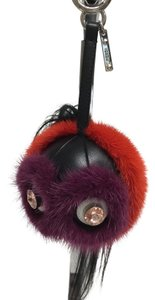 Fendi Red and purple fur monster bag charm