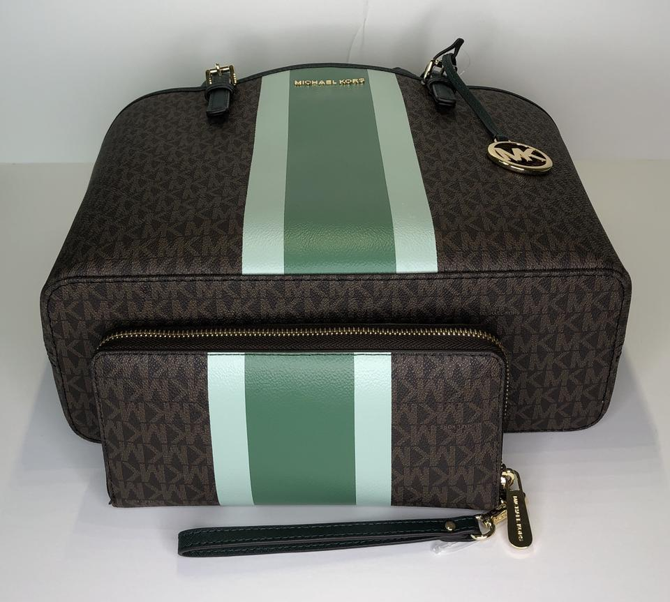 MICHAEL Michael Kors Carryall Jet Set Travel Md Bundled with Wallet Signature Mk Pine Green Leather Tote