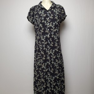 BLACK Maxi Dress by J. Jill Floral Button Up Collared Cap Sleeves